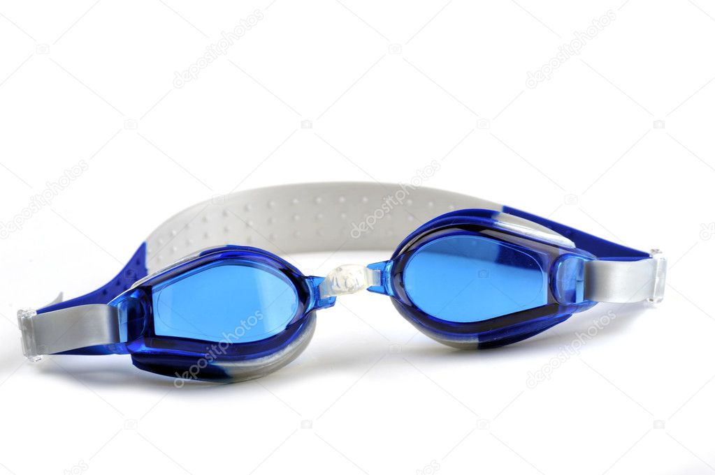 Blue swim goggles isolated on white — Stock Photo #2644373