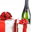 Chocolate in box and champagne — Stock Photo