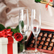 Gift in box and champagne - Stock Photo
