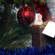 Christmas present with angel on it - Stockfoto