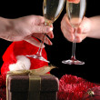 Glass of champagne with strawberry — Stock Photo #2653471