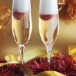 Two glass with sparkling champagne — Stock Photo