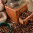 Retro coffee grinder with cup — Stock Photo