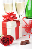 Champagne and chocolate — Stock Photo