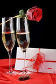 Champagne e lettera — Foto Stock