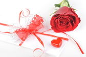 Rose and letter — Stock Photo
