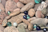 Backyard decorated with stones — Stock Photo