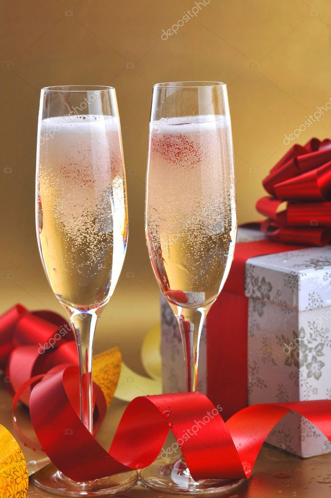 Champagne glasses on  celebratory table  Stock Photo #2657824