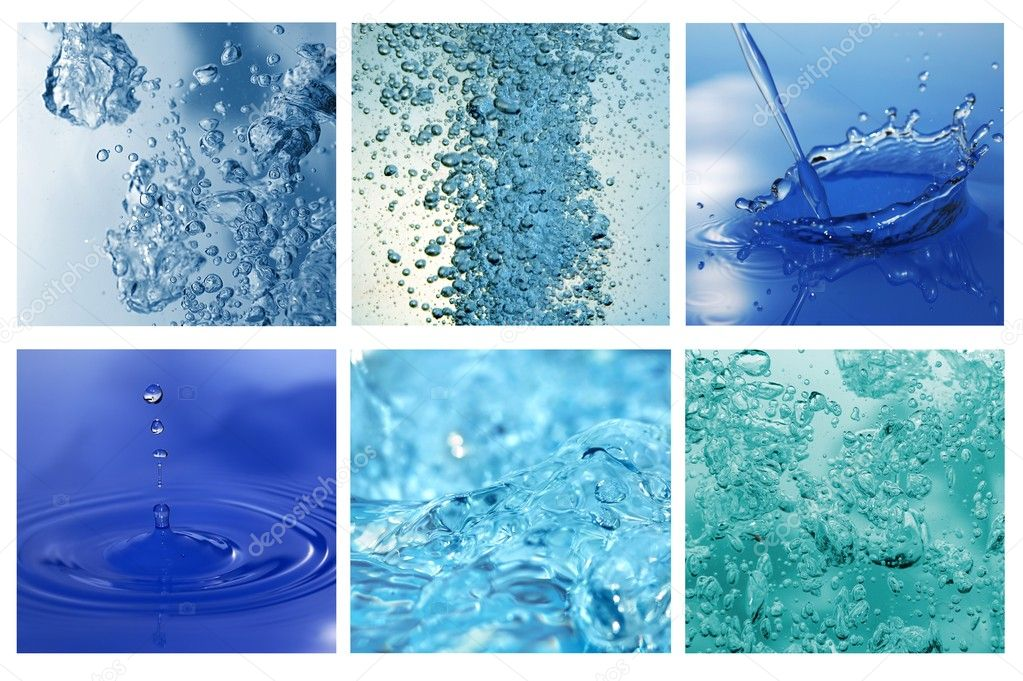 Different water bubles and drops collage — Stock Photo #2658535