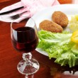 Roasted cutlets and wine — Stock Photo #2662874
