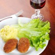 Roasted cutlets and wine — Stock Photo #2662935