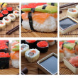 Colage with Japanese sushi — Stockfoto