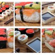 Colage with Japanese sushi - Stock Photo