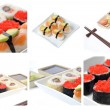 Colage with Japanese sushi — 图库照片