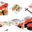 Stock Photo: Colage with Japanese sushi