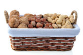 Different nuts in basket — Stock Photo