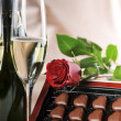 Champagne and red rose — Stock Photo #2672320