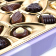 Chocolate in box close up — Stockfoto