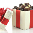 图库照片: Different chocolate in box
