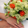 Bride and groom hands — Foto Stock