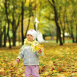 Girl playing in autumn park — Stock Photo #2673820