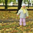 Girl playing in autumn park — Stock Photo #2673994