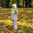 Girl playing in autumn park — Stock Photo #2674017