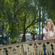 Girl on the bridge — Stock Photo