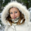 Girl wearing winter coat - Stockfoto