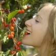 Stock Photo: Nice girl in garden with cherry