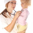 Doctor exams little girl — Stock Photo