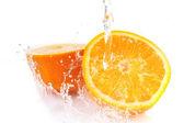 Orange with splash — Stock Photo