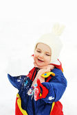 Girl plays with snow — Stock Photo