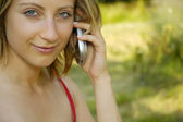Nice girl with cell phone — Stock Photo