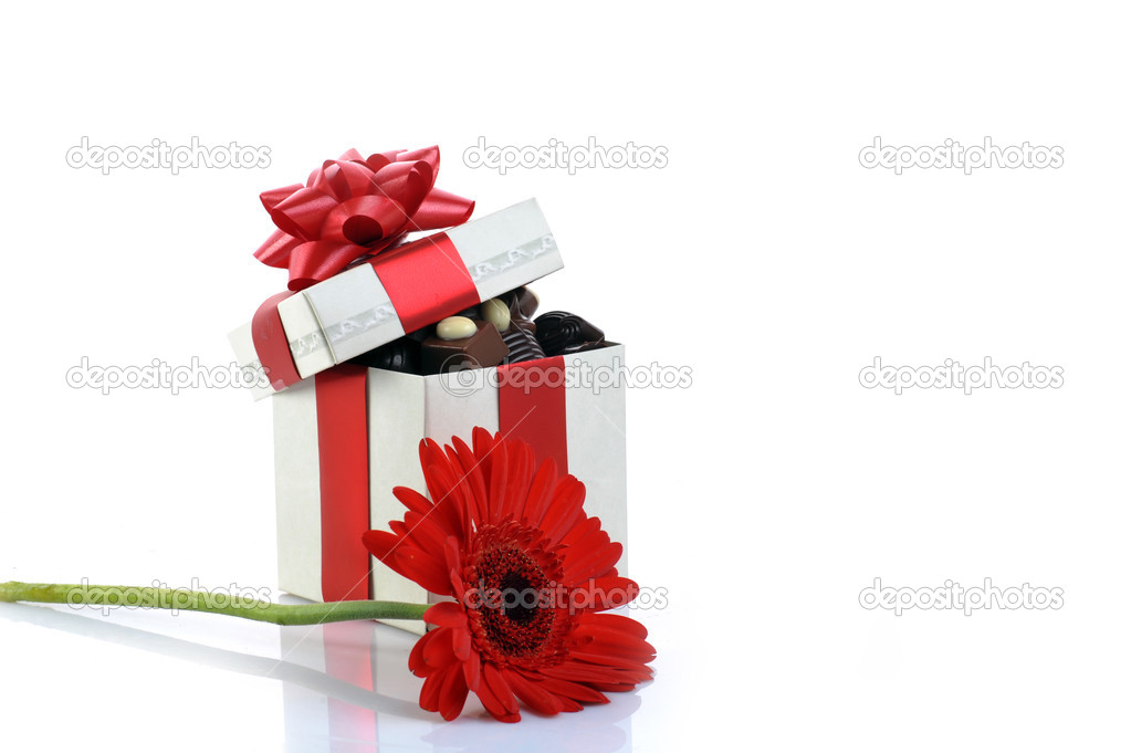 Different chocolate in gift box  with copy space  Stock Photo #2672155