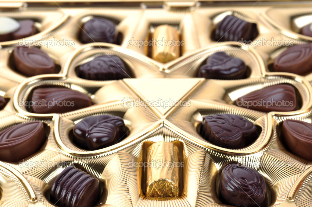 Different chocolate in box close up — Stock Photo #2672386