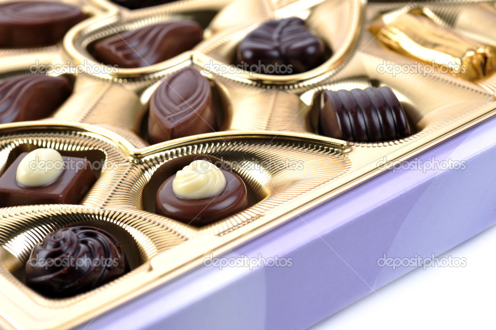Different chocolate in box close up — Stock Photo #2672413