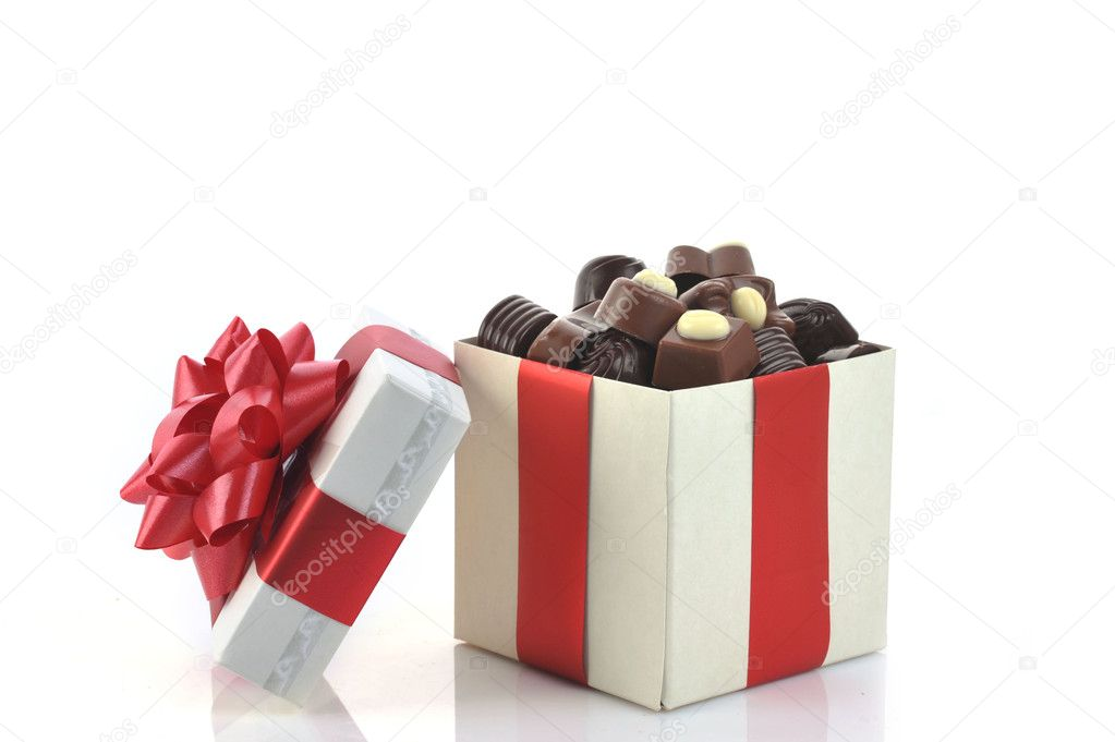 Different chocolate in gift box — Stock Photo #2672438