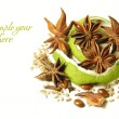 Stock Photo: Anise star over white background