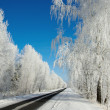 Winter landscape with road — Stock Photo