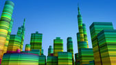 Colored 3D city — Stock Photo