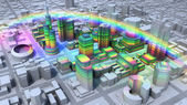 Rainbow over city — Stock Photo