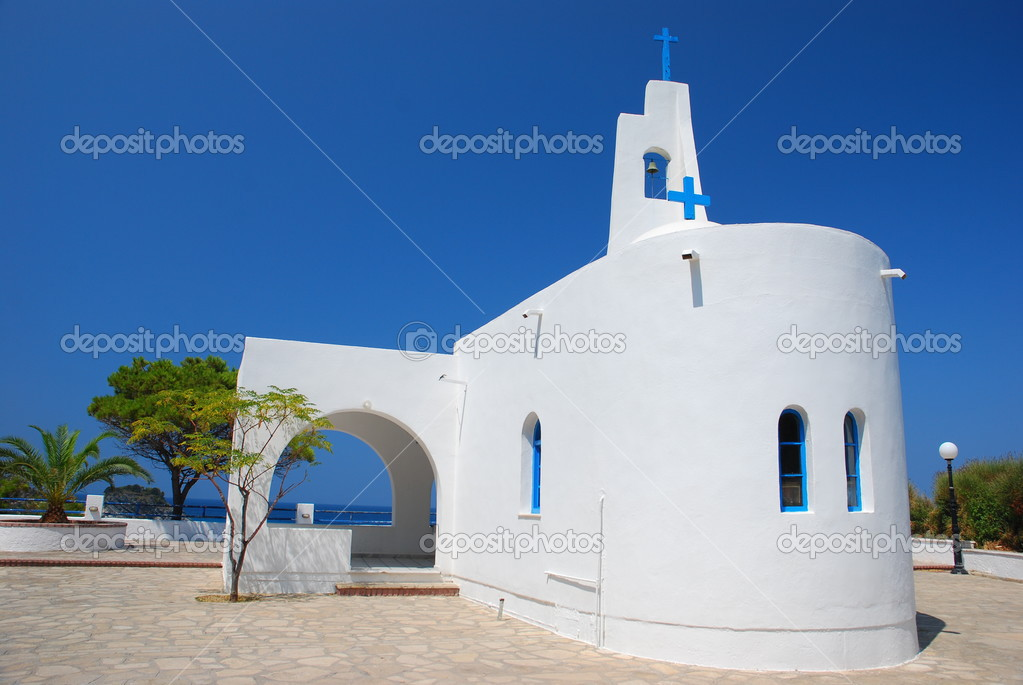Orthodox church on the seaside. Samos Island , Greece  Stock Photo #2660286