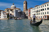 Gondolier at Grand canal — Stock Photo