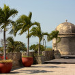 Stock Photo: Colonial Wall of Cartagende Indias.