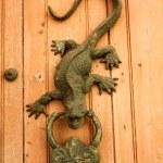 Metal knocker shaped dragon or lizard — Stock Photo #2660619