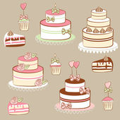 Pies and cakes — Stock Vector
