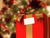 Present with Xmas Tree — Stock Photo