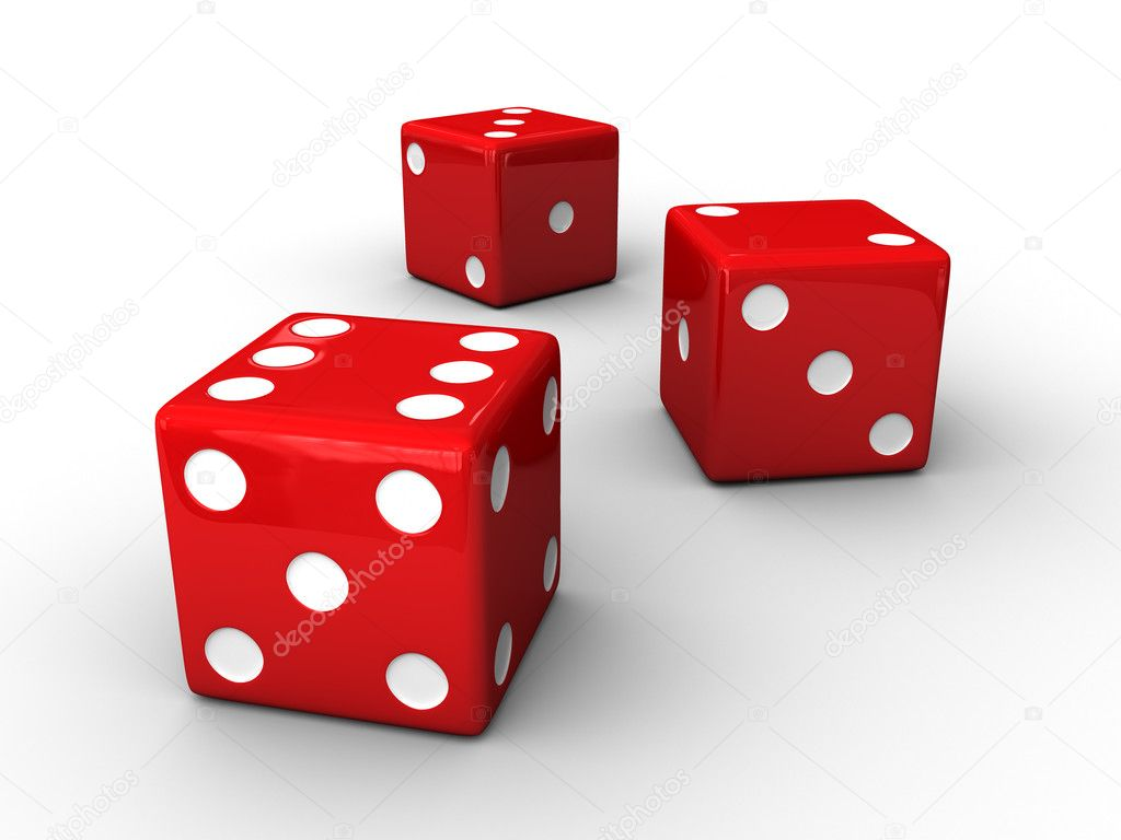 A render of 3 isolated red dices  Stock Photo #2655997