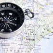 Compass on Map — Stock Photo